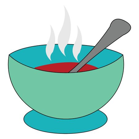 A blue bowl of tomato soup which is served hot vector color drawing or illustration Çizim