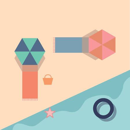 Summer beach with lot of cool things around vector color drawing or illustration