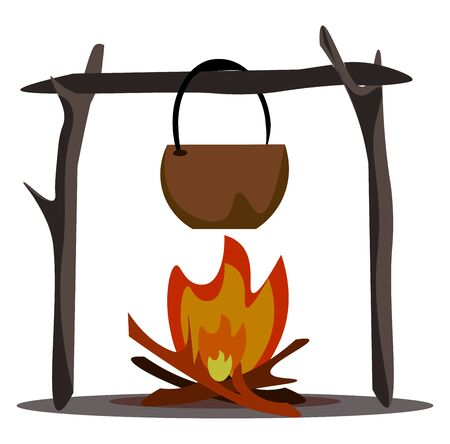 A stockpot with fire below it to keep the container hot vector color drawing or illustration Ilustração