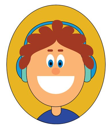 Portrait of a boy in a blue top  wears big blue headphones and with his blue eyes rolled down is laughing  vector  color drawing or illustration Illustration