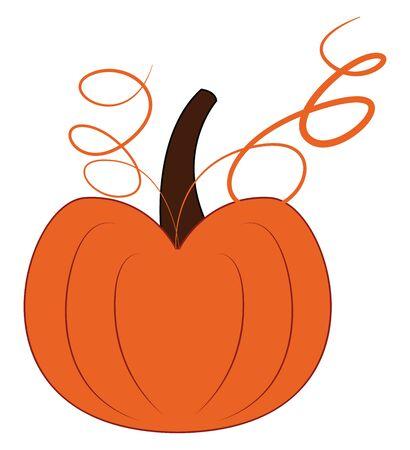 A big tasty pumpkin in orange color vector color drawing or illustration