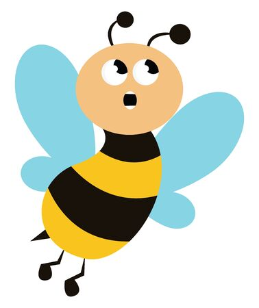 A surprised bee with blue wings with its mouth wide open vector color drawing or illustration