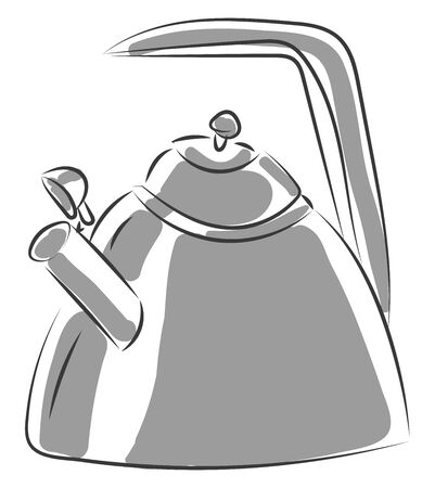 A big tea pot in silver with a long handle to carry vector color drawing or illustration Ilustrace
