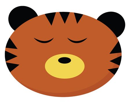 A face of a small tiger sleeping with its eyes closed vector color drawing or illustration
