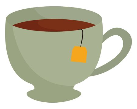 A tea cup with full tea with tea bag inside it vector color drawing or illustration