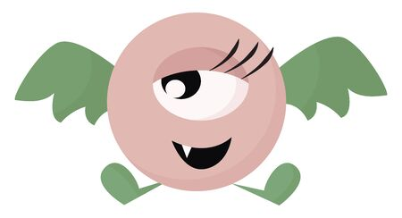 Clipart of a one-eyed cute little flying pink bat monster with attractive eyelashes and one projecting fang teeth is laughing while flapping its green wings  vector  color drawing or illustration Ilustração