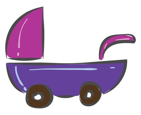 A cute small baby stroller in pink and violet color vector color drawing or illustration