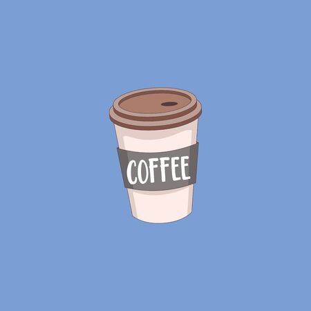 Portrait of a disposable party coffee white cup with a brown lid that has a hollow space for the straw to fit in labeled as COFFEE  vector  color drawing or illustration