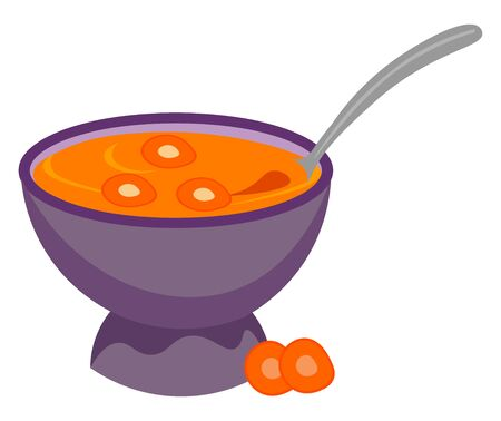Painting of a giant purple bowl filled with carrot soup and a spoon to be enjoyed by someone  vector  color drawing or illustration Standard-Bild - 132667109