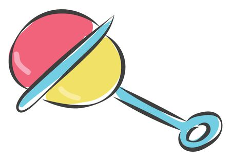 A rattle toy for new born babies in plastic vector color drawing or illustration