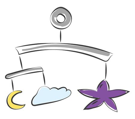 A hanging baby toy with small shapes of moon star cloud on it vector color drawing or illustration Illustration