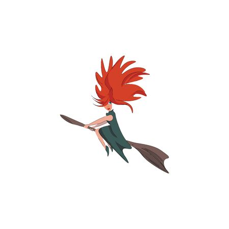 A scary witch with sharp dense orange hair flying on a broomstick vector color drawing or illustration Standard-Bild - 132667149