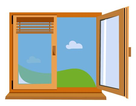An airy open wooden window with shiny glasses fitted to it giving out beautiful natural scene vector color drawing or illustration