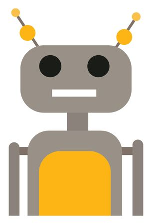 A modern technology grey robot with yellow designs in it with two antennas vector color drawing or illustration