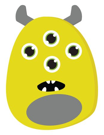 An ugly monster in yellow and grey color with four eyes vector color drawing or illustration