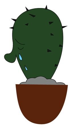 Emoji of a cactus plant potted on a brown flower pot is shedding tears  vector  color drawing or illustration