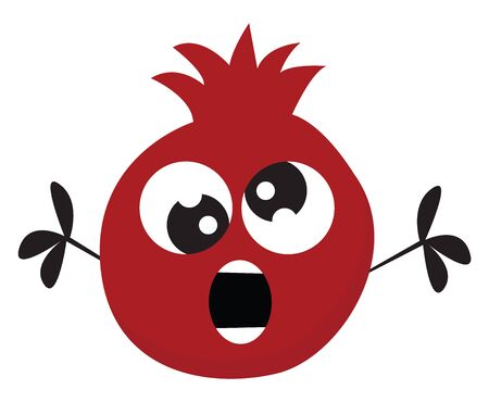 Painting of a crazy red pomegranate with crossed eyes and black hands stretched wide open while surprised  vector  color drawing or illustration Illustration