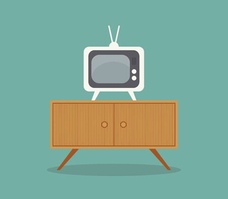 A small television on an old table without wire on it vector color drawing or illustration