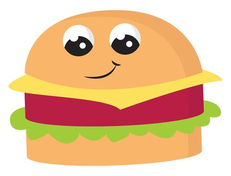 Emoji of a cute brown hamburger sandwich with lettuce  meat  and cheese with eyes rolled down is smiling  vector  color drawing or illustration