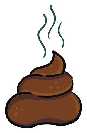 Turd in brown color which is very smelly vector color drawing or illustration Çizim