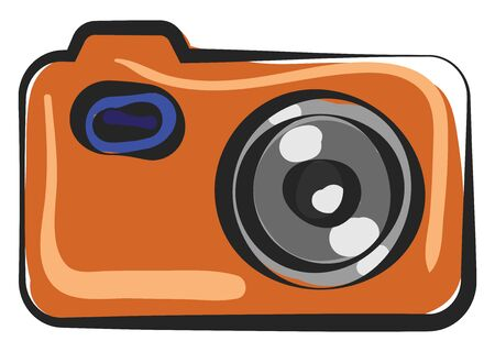 Painting of an orange camera used in olden days furnished with control buttons and the zoom ring in grey color and the focus ring in black color   vector  color drawing or illustration Illusztráció