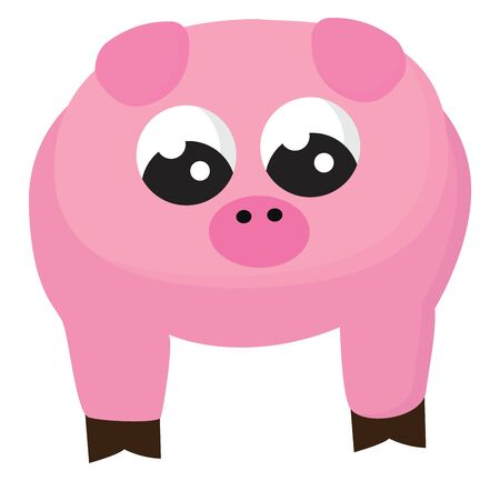 Emoji of a cute pig pink with a round face looks cute while standing with its eyes rolled down  vector  color drawing or illustration
