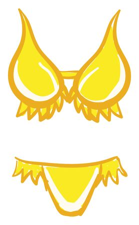 An yellow women's swimsuit comfortable to wear for swimming vector color drawing or illustration