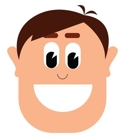 A happy smiling young man with brown hair and modern hair style vector color drawing or illustration 向量圖像