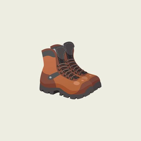 Portrait of a pair of brown camping shoes with laces tied has a sturdy black base vector color drawing or illustration