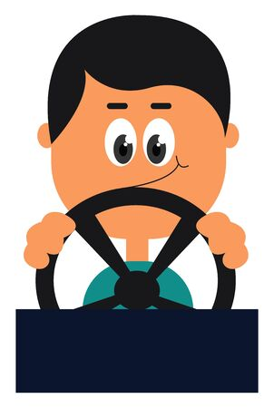 Cartoon driver in a blue shirt looks happy while steering the vehicle  vector  color drawing or illustration