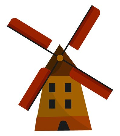A tall spinning windmill with four red rotating blades vector color drawing or illustration