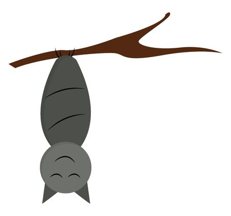 A laughing cartoon grey-colored bat with its eyes closed while hanging upside down in the branch of a tree and has an oval-shaped body  vector  color drawing or illustration