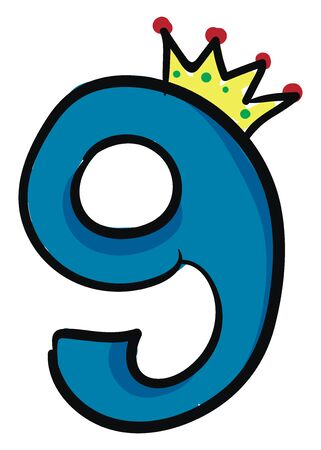 A blue-colored figurine with a black outline and topped with a crown represents the queen number 9 vector color drawing or illustration