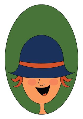 Portrait of a happy boy in a blue hat covering his two eyes has orange hair and tongue exposed while laughing  vector  color drawing or illustration