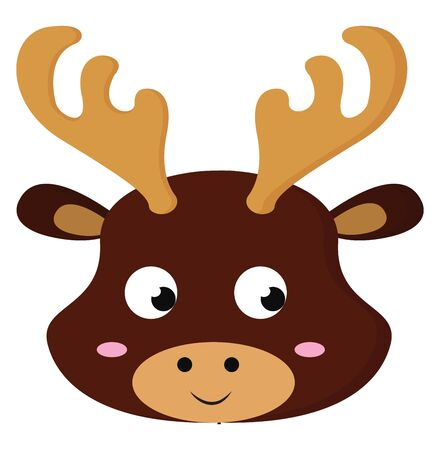 Clipart of the face of a graceful brown-colored baby deer with chubby cheeks  two branched horns or antlers and eyes rolled down while smiling  vector  color drawing or illustration Illustration