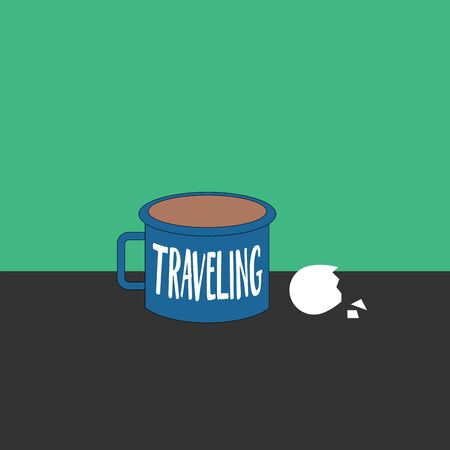 A portrait depicting morning breakfast with a blue coffee mug engraved as TRAVELING and a cracked eggshell  vector  color drawing or illustration Иллюстрация