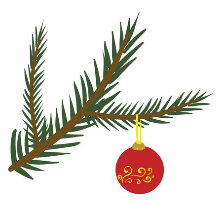 Colorful hanging bell or toy hanging on the branches of the spruce tree creates a festive atmosphere  vector  color drawing or illustration