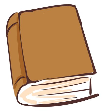 Drawing of a brown book consisting of pages sewn together along one side and bound in covers  vector  color drawing or illustration Ilustrace