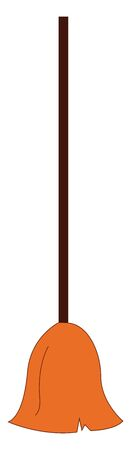 Cartoon broom with a bundle of brown-colored bristles attached to a black-colored handle is used for cleaning floors or other surfaces  vector  color drawing or illustration