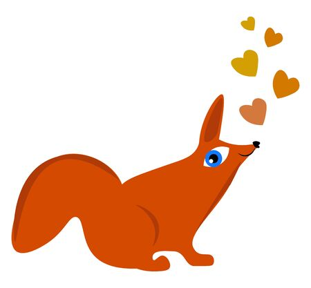 Cartoon orange fox admiring the drifting colorful hearts above its head in a seated position  vector  color drawing or illustration