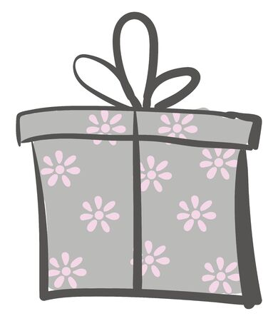 Painting of a gift box wrapped with a floral decorative paper and tied with a black ribbon and topped with a decorative bow  vector  color drawing or illustration  イラスト・ベクター素材