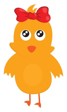 Cute little girl brown chick wearing a red bow clip in its head expresses sadness while standing  vector  color drawing or illustration Ilustração
