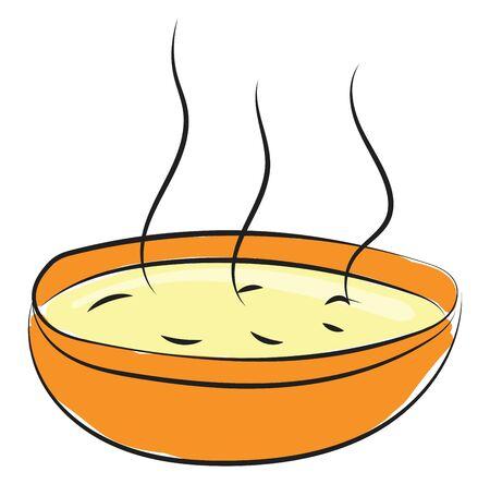 A gigantic orange bowl filled with the steaming hot chicken soup  vector  color drawing or illustration Ilustração