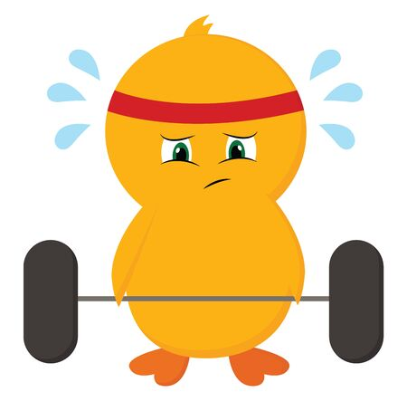 Cute-little sweating chick with all its efforts trying to lift dumbbells at the gym is wearing a red and white striped bandana  vector  color drawing or illustration Reklamní fotografie - 132665933