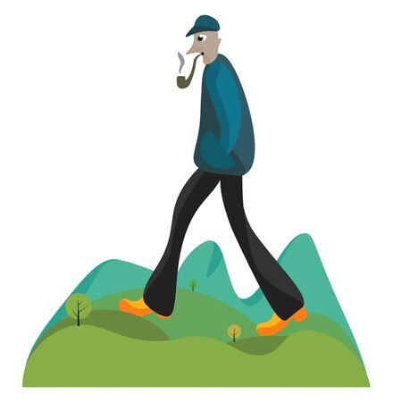 A gigantic man in his brown shoes  summer hat  and hands tucked in his pockets is walking in the field with a cigar pipe in his mouth and smoking it  vector  color drawing or illustration