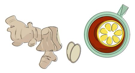 Clipart of few pieces of ginger and a cup of lemon tea placed in a small circular table cloth of brown and green colors  vector  color drawing or illustration Ilustração