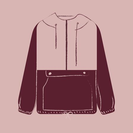 Portrait of a showcase maroon-colored coat with white buttons  contrast paneled piping and stitched detailing over the pink background  vector  color drawing or illustration