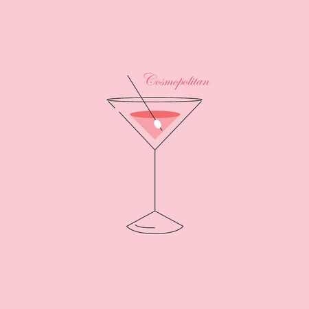 Portrait of elegant party glassware filled with the cocktail over a pink background with the wording COSMOPOLITAN  vector  color drawing or illustration Illusztráció