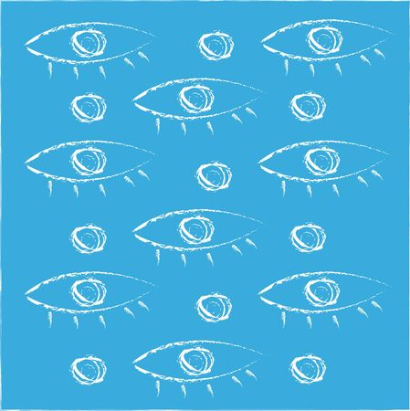 Regular patterns of eyes with skin  pupils and eyelashes in white color appear over blue background  vector  color drawing or illustration