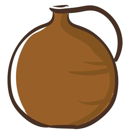 Portrait of a clay jug brown in color with a handle  flat base  a handle  and a very narrow-raised opening at the top for pouring the liquid filled in  vector  color drawing or illustration 일러스트
